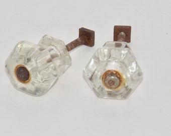 Antique glass drawer knobs etsy uk for Glass bureau knobs