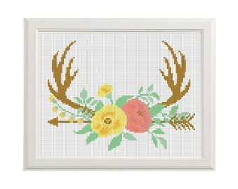 Deer Cross Stitch Deer Flower Cross stitch arrow Floral Antler theme cross stitch Deer Antlers cross stitch Stag Antler cross stitch pattern