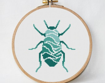 Beetle cross stitch pattern geometric cross stitch modern  insect unique designs