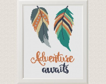 Adventure Awaits  quotes Cross Stitch Pattern Feathers Cross Stitch modern Instant Download