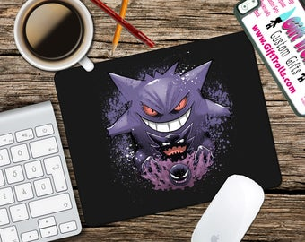Gengar Evolution Mousepad - Mat - Round or Rectangle - Pokemon - Mouse pad Co worker Gift