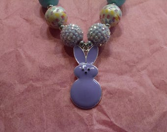 Peeps Easter Candy Girls Chunky Bubblegum Necklace.  Pink, Purple, Yellow or Hot Pink Peeps Gumball Necklace