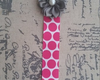 Shabby Chic Pacifier Holder, Pink Polka Dot and Gray