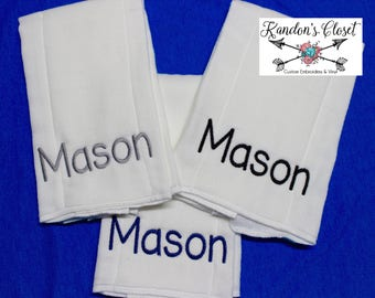 Set of 3 Personalized Burp Cloths With Name / Baby Burp Rag