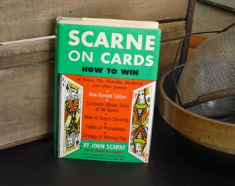 Vintage Book on Poker, John Scarne, Vintage How to Win Play Book, Card Sharks, Gambler, Card Counter, Pinochle, Blackjack, Gin, 21, Man Cave