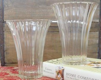 Vintage Anchor Hocking Ribbed Fluted Glass Vases,  Set of 2, 7 Inch Clear Glass Centerpieces, Elegant Flower Holder, Large Flower Vessels