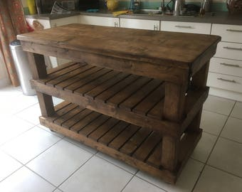Industrial Style Reclaimed Timber Kitchen Island