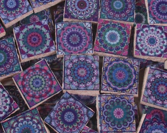 Ceramic Mosaic Tiles - Moroccan Tile Design Purple Moroccan Medallions Mosaic Tile 60 Pieces - For Mosaic Art / Mixed Media Art/Jewelry
