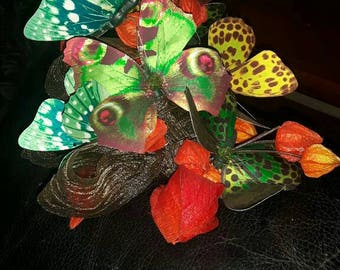 Statement hat facinator. Ooak. Chinese lanterns and butterfly. Butterfly facinator hat.