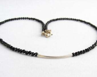 Black spinel necklace, necklace, faceted gemstones, 925 sterling silver, silver tube, gift for you, 43 cm/17 inches