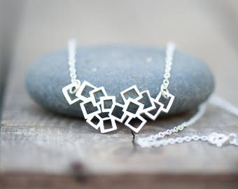 Abstract Squares Necklace Handmade from  Sterling Silver