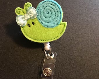 Snail ID badge reel holder retractable clip