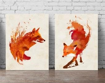 Fox Wall Art fox wall decal | etsy