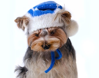 """Knitted hat for dog """"Snowflake"""", Christmas dog outfits, Winter hats for dogs,  Hand knitted hat"""