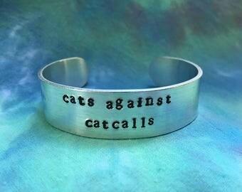 Cats Against Catcalls 5/8ths Inch Bracelet - Feminist Bracelet - Pro Choice - Pro Women - Pussy Against Trump - Riots Not Diets