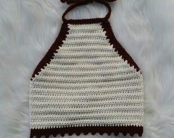Crochet Halter Crop top with Picots