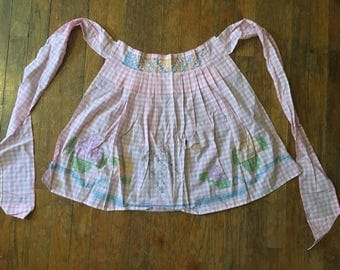 Vintage Pink and White Checked Embroidered/Cross Stitched Half Apron
