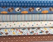 Bundle of 6 Fabrics from the Rover Collection by Riley Blake, Cotton Fabric, Dog Bone, Dog Rescue