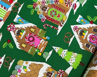 "End of Bolt, Gingerbread House on Green from the Winter Novelties Collection by Greta Lynn for Benartex 8""x44"""