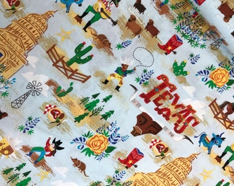 Texas in Blue Cotton Fabric from Riley Blake