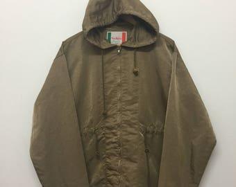 Via Appia Original Jacket/Via Appia Hooded Jacket/Designer/Italy/Shinny Brown/Size L