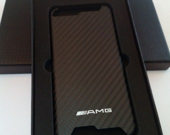 Hand made Carbon fiber and Iphone 6 - Iphone 7 Mercedes Benz AMG fan logo Case