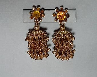 Vintage Pair of Very Large Screw-Back Earrings, Orange Topaz Rhinestones
