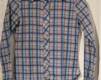 Vintage 1960s-1970s Gemilli Red, White and Blue Plaid Cotton Blouse Vintage Size 5/6