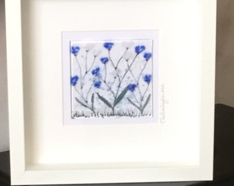 Glass Floral Wall Hanging, Glass Art Flowers ,Blue Cornflowers, Wall Hanging, Home decor, Wall Art, Gift for her   16/100