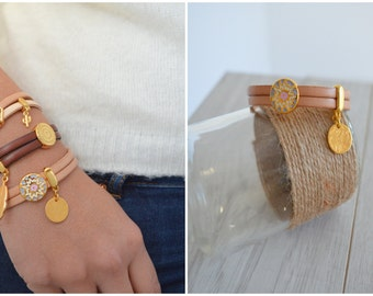 Leather Bracelet with Gold SPLASH slider, Delicate Leather Bracelet, Native American Style Leather Wrap Bracelet