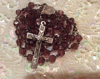 Vintage rosary amethyst glass beads and metal