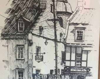 Vintage Quebec City La rue du Trésor souvenir print lithography signed Richard 1972