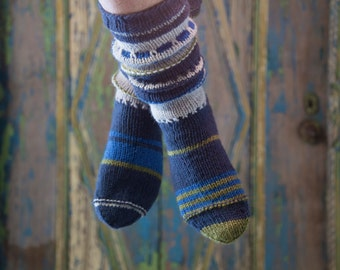 blue wool socks, hand knitted 36/37