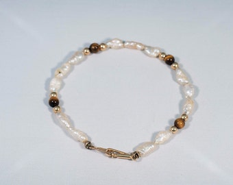 """14K Yellow Gold Freshwater Pearl Bracelet w/Tiger Eye and Gold Beads, 5.5"""" long"""