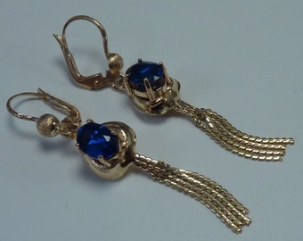 14K Yellow Gold Synthetic Sapphire Drop/Dangle Earrings, 4.6 grams