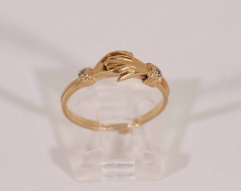 Unique Portuguese Gold 19.2K Yellow Gold Hand Opening (Hinged) Ring , size 7.75