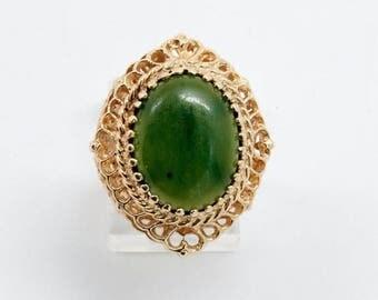 14K Yellow Gold Filigree Oval Jade Ring , size 5.75