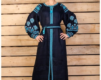 Boho embroidered black linen dress. Organic fabric. Ethnic style. Linen maxi dress with long sleeves. Embroidered kaftan. Free shipping