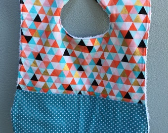 Geometrical with blue polka dot - Baby Bib, Toddler Bib, Handmade Bib, snap fastener bib, baby gift, toddler gift, baby shower