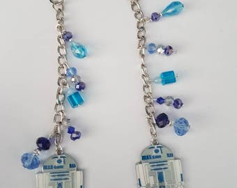 R2D2 STAR WARS bag charm or key ring/ key chain made by the jewellery geek.