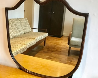 Curved Antique Mirror with Wood Frame