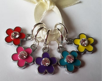 5 Knitting or crochet  stitch markers. Spring flowers
