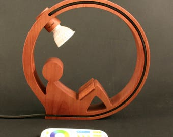 Reading lamp of cherry wood with MI-Light led spot by Bintwood, special table lamp