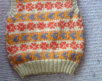 Handknitted Fair Isle tank top for 2/3 yr old