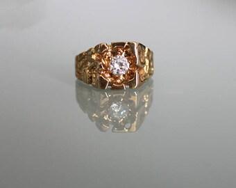 Vintage 18KT HGE Ring, Men's jewelry, Vintage Gold Ring