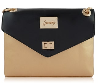 Gold&Black dual combination multi-carry leather handbag FREE EXPRESS DELIVERY