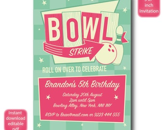 Bowling birthday invitation - SELF EDITABLE PDF - 5 x 7 inch Customisable Bowling Printable Birthday Party Invite - Instant Download