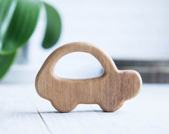 Organic Wooden Teether. Beech Car Teething Toy.  Hand-carved Teether. Natural Baby Toy. Eco Friendly Infant Toy. Newborn gift.