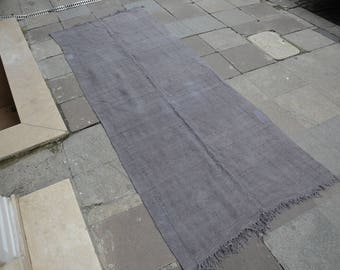 "Turkish Hally Rugs,Handwoven Runner Rug,Handmade Carpet,Gray Hemp Rugs,298 x 110 cm  9'.7"" x 3'.6"" ft,Floor Turkish Hemp Rugs,Runner Rug"