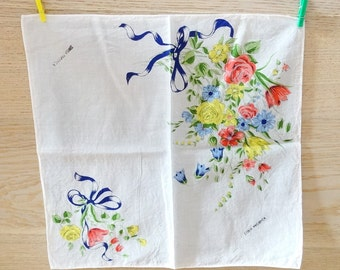 Ladies handkerchief cotton hankie floral small wall art wall hanging 1950s 60s vintage